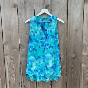Vince Camuto Flowers Teal V Neck Lined Tank Top